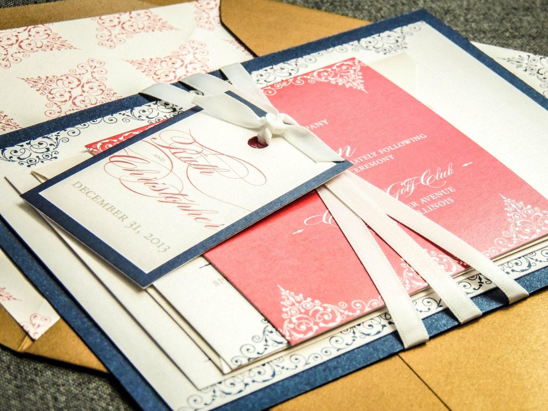 Navy Wedding Invitations: Romantic Vintage Wedding Invitations Coral And Navy Wedding