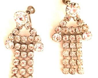 Long Rhinestones Earrings Screw Back Dangle Dangling Articulate Earrings Pendant-Style Sparkling Vintage Jewelry 50s artedellamoda WOW