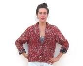 Cropped Red Blazer Bandana Tapestry Southwestern Ladies Size S/M