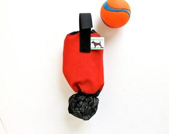 Dog Waste Bag Holder Leash Bag - Red