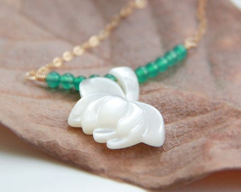 Shell Lotus Green Agate Necklace-14K Gold Filled Chain