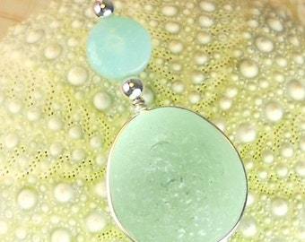 GENUINE Aqua Sea Glass Jewelry, Opal Necklace, Sterling Silver English Sea Glass Pendant, Beach Glass Jewelry, Beach Necklace, Gift  For Her