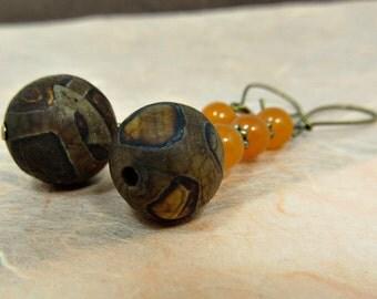 Tibetan DZI Beads (Natural Brown Agate) and Orange Jade Dangle Earrings