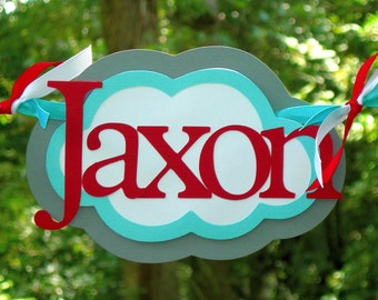 Personalized Airplane and Cloud Highchair Birthday Banner MADE To ORDER