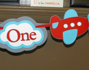 Personalized Airplane Birthday Banner MADE TO ORDER