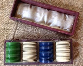 Vintage Bakelite Poker Chip Set in Velvet Travel Case