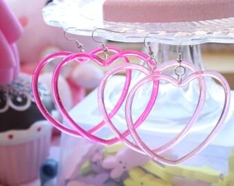 Sweet Lolita Heart Hoop Earrings Pick One
