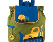 Personalized quilted Stephen Joseph construction backpack. Bulldozer, cement truck, for little boys