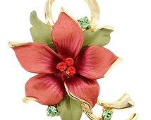 Red Poinsettia Christmas Star Flower Brooch and Pendant 1010621