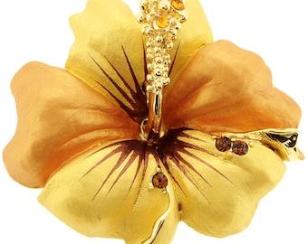 Small Golden Hawaiian Hibiscus Swarovski Crystal Flower Pin Brooch and Pendant 1011632