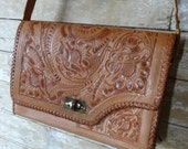 Vintage Hand Tooled leather Purse Brown Rare Reversible