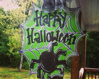Happy Halloween Spider Web Wood Cut Out Hanger
