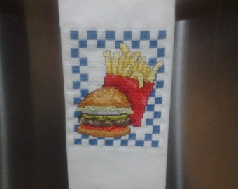 Hamburger and Fries Cross-stitched Kitchen Towel