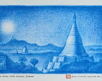Original Drawing - Moon Over Bagan, Burma (Palm Trees + Temples)