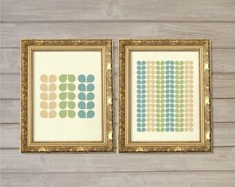 Retro Leaves - Green Aqua Cream -8x10- Instant Download Turquoise Geometric Abstract Digital Printable Vintage Home Interior Decor Wall Art