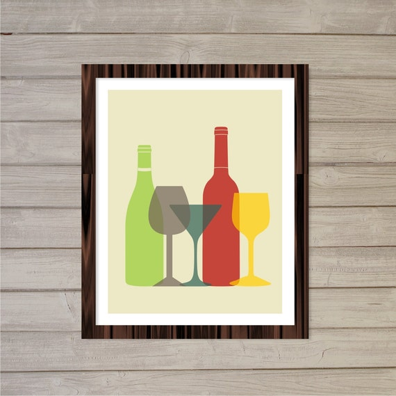 Colorful Kitchen Wall Art: Retro Kitchen Printable Wall Art Colorful Wine Glasses And