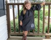 Denim Peasant Dress, Monogrammed Dress, Toddler Peasent Dress, Girls Dress, Fall Peasant Dress