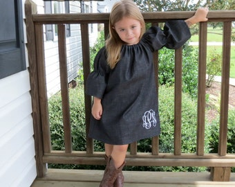 Denim Peasant Dress, Monogrammed Dress, Toddler Peasent Dress, Girls Dress, Fall Peasant Dress