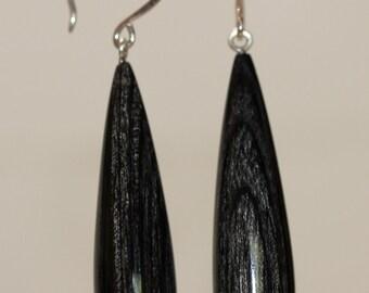 wood tear drop earrings - charcoal