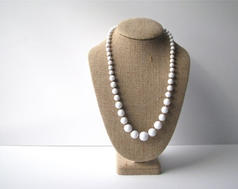 Vintage Necklace, White Faux Pearl with Gold Spacers, varied pearl sizes, retro jewelry
