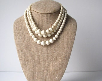 Vintage Ivory triple stranded necklace, 3 strand necklace costume jewelry