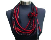 Spring women bohemien flowers pattern-infinity scarf necklace-black white red elegant recycled fabric necklace-loop necklace-textile jewelry