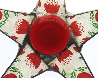 Nether Star- red and green floral motif, lacquered paper on glass, 9.5 inch star, red tulips star