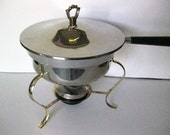 Mid Century Modern Chrome Chafing Dish/Fondue Warming Dish Circa 1960's-1970's