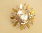 ON SALE  Sunny Mexican Gold and Silver Brooch