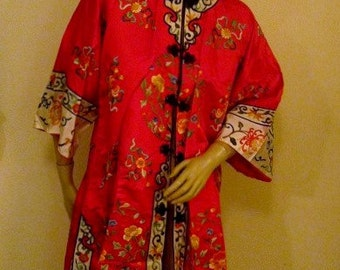 SALE  1970's Chinese Red Silk Satin Floral Embroidered Robe