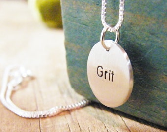 grace and grit necklace sterling silver two sided word charm matte finish encouragement survival healing