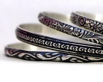 Bangle Bracelet Set - Sterling Bangles - Floral Bangles - Silver Bangles - Custom Bangles