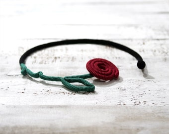 Barbed Rose Necklace Crochet Flower