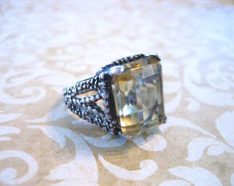 Vintage Retro Sterling Silver Ring Citrine Colored Stone