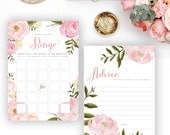 Printable Romantic Floral Bridal Shower Games Set. Bingo, He Said She Said, Mad Libs, & Advice Cards - INSTANT DOWNLOAD