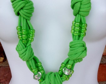 Lime Green Multi Strand Beaded Infinity Scarf Necklace