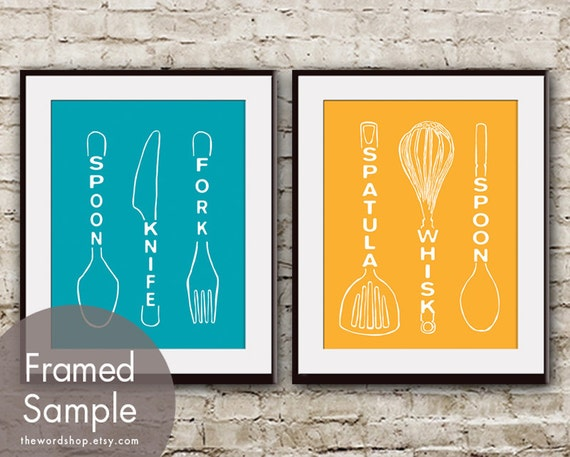 Spoon Knife Fork and Spatula Whisk Spoon - Set of 2 - Art Prints Kitchen Utensil Art (Featured in Oceanic Blue and Clementine)