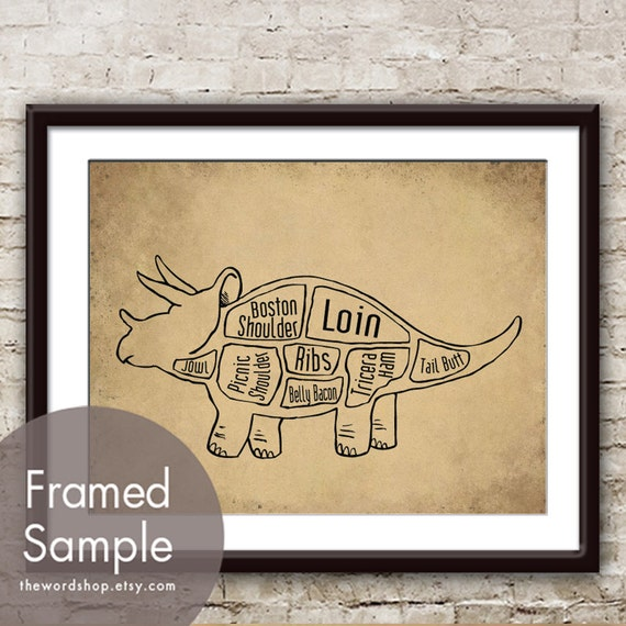 Triceratops Dinosaur Butcher Diagram Series - Art Print (Featured in Cork Board with Black) Customizable Colors (Buy 3 and get One Free)