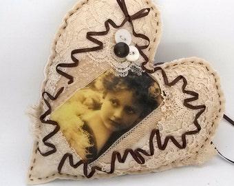 Victorian Inspired Heart Ornament Door Hanger Brown Cream Gold Vintage Photo Girl