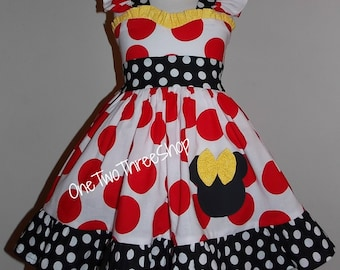"""Minnie Mouse Dress """"sweetheart"""" Birthday Custom Boutique Children Clothing Red Jumper  Dress 12 Months to 6 Years"""