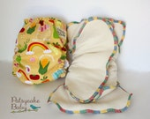 All-In-Two Exclusive diaper system! Custom Fabric PUL Diaper Cover and Organic 4 Leaf Clover Diaper