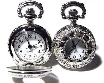Pocket Watch Steampunk Mens Cufflinks Antique Victorian Style Silver Cuff links