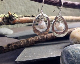 Sterling silver handcrafted earrings with fresh water pearl dangle