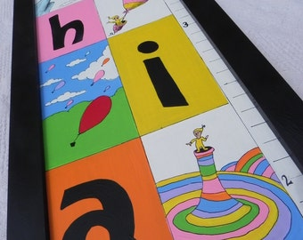 Oh the Places You'll Go---Hand Painted Personalized Framed Wooden Growth Chart