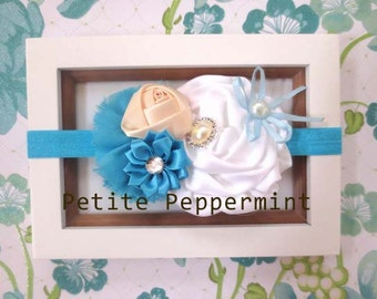 Turquoise Flower Baby headband, baby girl headband, newborn headband, toddler headband, baby hair bow, baby head band