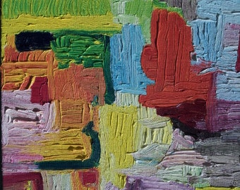 """Abstract Oil Painting On Canvas 10"""" X 20"""" Bright Impasto"""