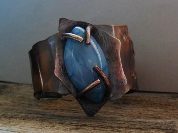 Dragon Vein Agate Stone Copper Cuff Bracelet