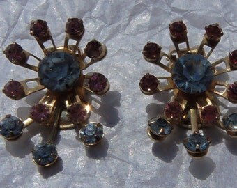 Fabulous blue and pink  rhinestone clip-on earrings