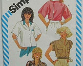 Vintage 80's Misses' Retro Shirts in 2 Lengths, Simplicity 6336 Sewing Pattern UNCUT Size 8