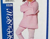 RARE Children's, Girls' Easy Tunic Top and Leggings, Butterick X328 Sewing Pattern UNCUT Sizes 6, 7, 8
